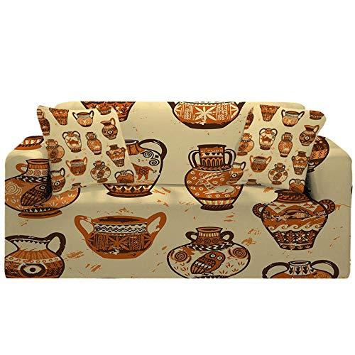 Fundas Sofa elasticas 1/2/3/4 plazas Cubre Sofa Fundas para Sofa Decorativas Fundas de Sofa Ajustables poliéster(Patrón de Porcelana Fondo Beige impresión.,4 plazas:235cm-300cm)