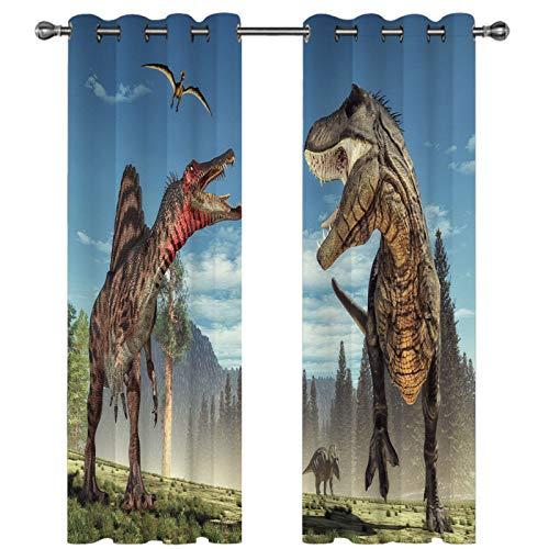 Cortinas con Patrón De Dinosaurio Realista En 3D Cortinas Decorativas Personalizadas De Estilo Europeo Super Sombreado Adecuado para Hoteles Dormitorio Infantil De 67 Piezas