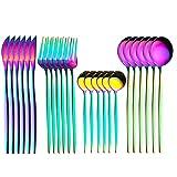 24pcs Set de vajilla de oro de oro Conjunto de vajillas de acero inoxidable Cuchillo Tenedor Cuchara Sistema de cubiertos Cubiertos Conjunto de luz brillante (Color : Colorful)
