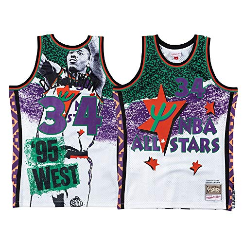 Mitchell & Ness Mens Fashion All Star West Swingman Jersey #34 Basketball Top - Multi - Size S White