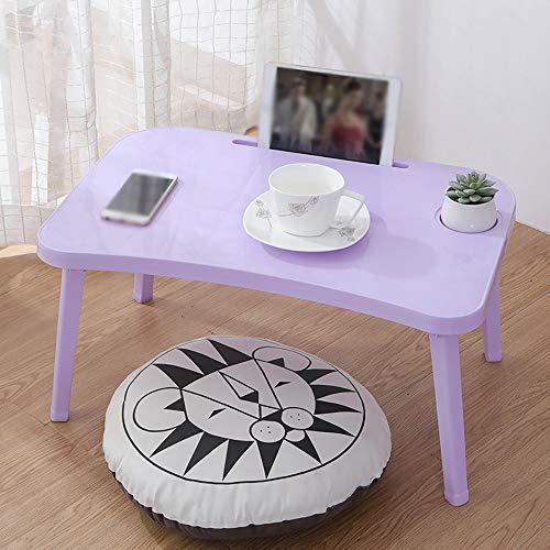Bureau d'ordinateur portable pliable, avec fente pour carte de bureau et porte-gobelet, bureau de lit pliable bureau d'étude paresseux, bureau d'ordinateur portable pliable simple,Purple