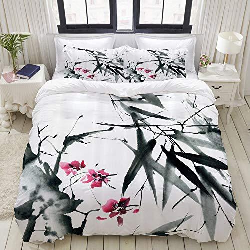 LASINSU Tiges de Bambou Naturel Japonais Fleurs de Cerisier Impression d'inspiration Populaire Japonaise,Parure de Lit Pou Housse de Couette (140x200) et 2 Taies d'oreiller pour Lit