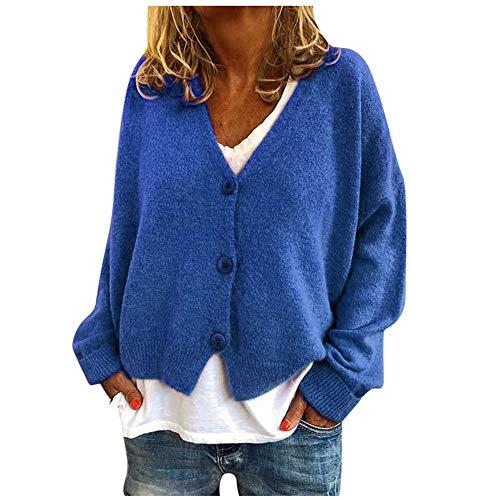 YBWZH Strickpullover Damen mit Tasten Einfarbig Strickjacke Winter Mantel Knitted Cardigan Große Größen Outwear Pullis Übergröße Oberseiten Boleros V-Ausschnitt Mantel Sweatshirts