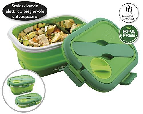 MACOM Just Kitchen 865 Space Lunch To Go Scaldavivande Elettrico Pieghevole Salvaspazio, 35 Watt, Verde/Bianco