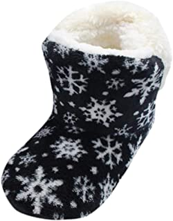 Women's Slippers Boots Comfort Warm Faux Fleece Ankle Bootie Snowflakes Print Fuzzy Plush Lining Slip-on House Shoes Anti-Slip Sole Indoor Outdoor