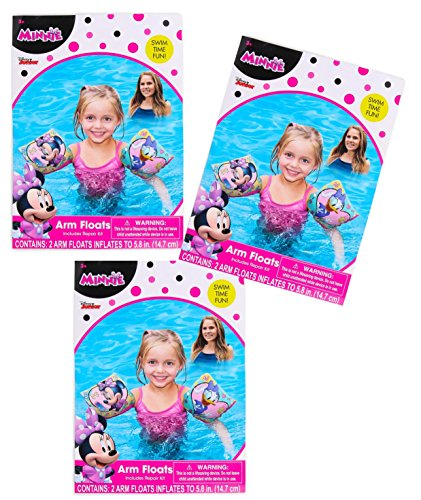 Disney [3-Pack] Jr Minnie Mouse Swimming Pool Inflatable Arm Floats Floaties
