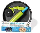 alldoro- Mini, 3 Pezzi, con Circa Teglia Rotonda per Pizza, 23 cm, Set da Cucina con lamiera, tagliapizza e mattarello, Anche per Torte, Baguette, per Bambini dai 5 Anni in su, Colore 61520