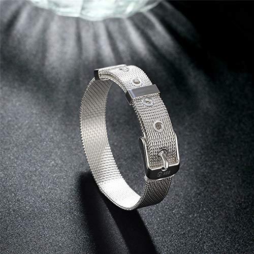 KUANGLANG Pulsera de Plata esterlina 925 con Correa de Reloj Web, Pulseras para Mujeres, Hombres, joyería de Compromiso de Boda