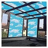 Vinilos Para Ventanas 60 * 200 cm Privacidad Autoadhesivo Ventana Ventana Pegatina Vidrio Sky Blue Sky White Cloud Película PVC para muebles Frosted Decorativo Vinilo Ventana ( Color : 60cmx200cm )