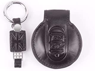 negro Oldbones forma redonda Funda de piel para llave de Mini One Cooper S JCW