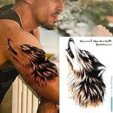 tzxdbh 3Pcs-Wolf Tattoo Sticker Impermeable Sra. Muslo Animal Tattoo Pareja Hombres Adultos Body Art Applique Teen Wolf Tattoo Large Tattoo 3Pcs-