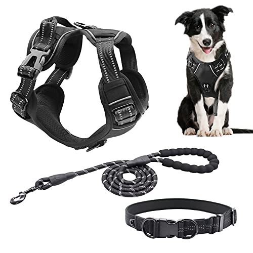 Dog Harness Collar Leash 3 in 1 Set ,Reflective No Pull Step in Vest Harness with Easy Control Handle, for Small to Large Dogs Daily Walking Running (M)