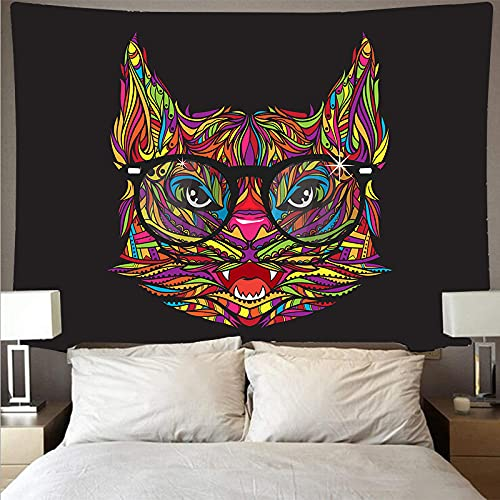 ydlcxst Tapestry Hippie Bohemian Mandala Abstract Colorful Tapestry Animal Head Wall Hanging Psychedelic Living Room Bedroom Decoration 140X210Cm /4156