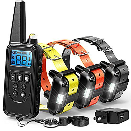 Dog Training Collar, Range 2600ft Rechargeable Dog Collar with Remote, 4 Modes Light Beep Vibrating Water Resistant Collar for Medium Large Dogs Breed, 3 Pack