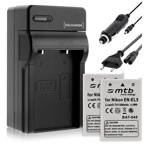 2 Baterías + Cargador EN-EL5 para Nikon P3 P4 P500 P510 P520 P5000 P5100 S10.