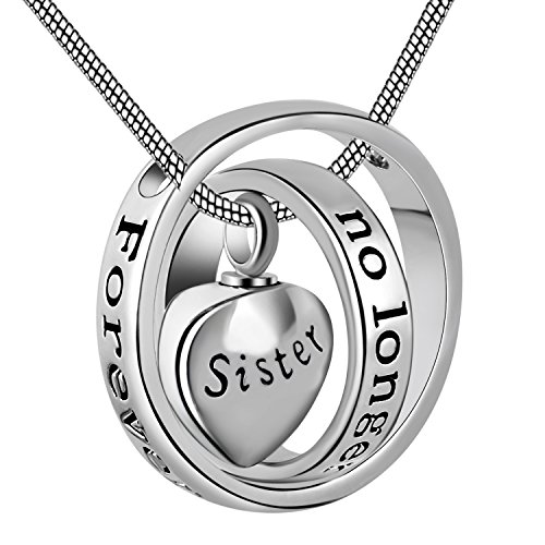 Cring Coco Womens&Mens No longer by my side,forever in my heart carved locket cremation Urn necklace for mom & dad (Sister)
