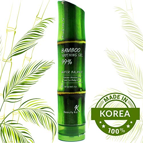 Vitamin Body Moisturiser Bamboo Soothing Gel 99% Pure - For Skin Hydration Organic Natural After Sun Like Aloe Vera Gel for Sunburn 250ml Korean Moisturizer for Face Body Hair