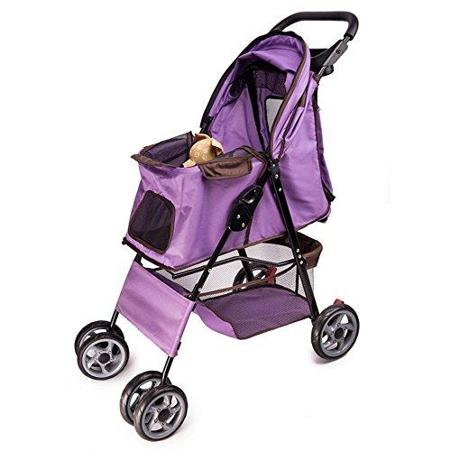 Yamyannie-Home Pet Dog Cart Plegable de Cuatro Ruedas Trolley Amortiguador Reversing Cat Dog Car Large Color Multi-selección. Caja de la Carretilla Mascota (Color : Púrpura)