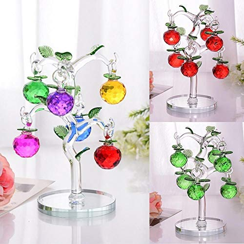 Glass Crystal Apple Tree with 6pcs Apples Fengshui Crafts Home Decor Figurines Souvenirs Decor Ornament-Yellow