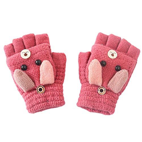 MAGIMODAC Halbfinger Handschuhe mit Klappe Kappe Mädchen Jungen Winter Fäustlinge Strickhandschuhe Winterhandschuhe Fingerlos Kinder (Hündchen Rose)