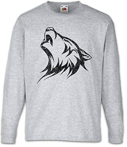 Urban Backwoods Tribal Wolf II Camisetas de Manga Larga T-Shirt para Niños Niñas Gris Talla 8 Años