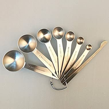Measuring Spoons Set of 7 for Measuring Dry and Liquid Ingredients with Measuring Stick Smithcraft 18/8 Premium Stainless Steel for baking and cooking