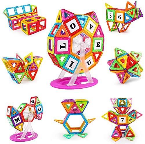 KIDCHEER Construcciones Magneticas Niños 100 Piezas Bloques Magneticos Niños Juegos Educativos Niños und Rueda de la Fortuna Niños y Niñas de 3 4 5 6 7 8 9 Años, Multicolor