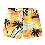Toddler Baby Boys Swim Shorts Swimming Trunks 1-6 Years Old Kids Summer Print Beach Pants Casual Clothes (18-24 Months, Yellow)