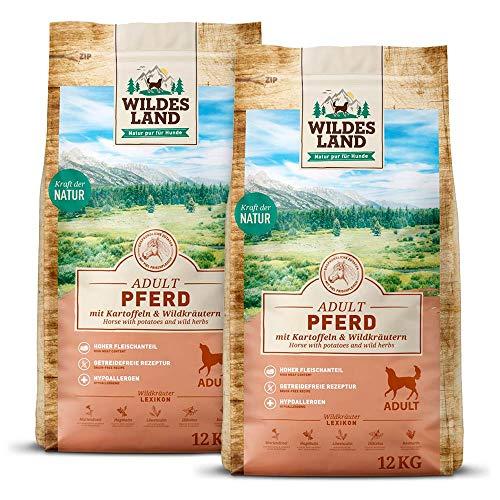 Wildes Land | Nr. 3 Pferd | 24 kg | mit Kartoffeln und Wildkräutern | Glutenfrei & Hypoallergen | Trockenfutter für Hunde | Hundefutter mit hohem Fleischanteil Hohe Verträglichkeit