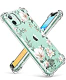 GVIEWIN iPhone 11 Case,Clear Flower Design Soft&Flexible TPU Ultra-Thin Shockproof Transparent Bumper Protective Floral Cover Case for iPhone 11 6.1 inch 2019 (Magnolia/White)