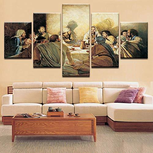 Modern Kunstdrucke 5 Stücke Wand Leinwand Gedruckt Kunst Poster Wohnaccessoires Geschenke 5 Stück Hd Druck Große Zwölf Jünger Jesu- 150 X 80 cm