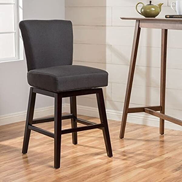 Christopher Knight Home 300797 Tracy Fabric Swivel Counter Stool Dark Charcoal