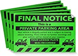 No Parking Violation Stickers Hard to Remove (10-Pack Green) Final Notice Towing Tags for Illegally Parked Vehicles in Your Lot - Super Sticky Car Permit Notices for Bad Parking 8' x 5' by MESS