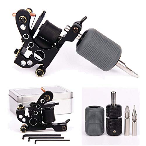 Coil Tattoo Machine Gun Iron Liner 10 Wraps Coils Shader Tattoo Kit Selflock Tattoo Grip Tube 25mm Silicone Grips Cover Tattooing Tips 5F 5R for Starter Tattooist