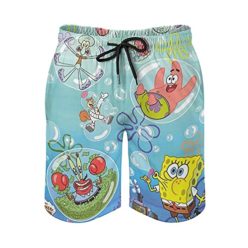 Sponge-Bob Teen Strandhose Sommer Herren Strandhose Schnell trocknend Strand Badehose - - Medium