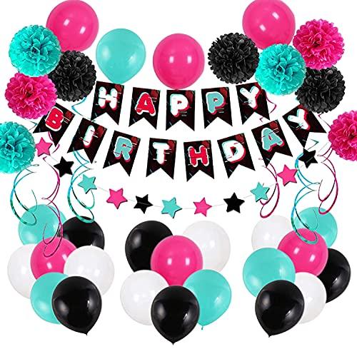 Tiktok Decoración de Fiesta de Cumpleaños Globos de Fiesta Musical Juego de Globos de Guirnalda TikTok Globos de Látex Pompones en Espiral para Damas y Niñas