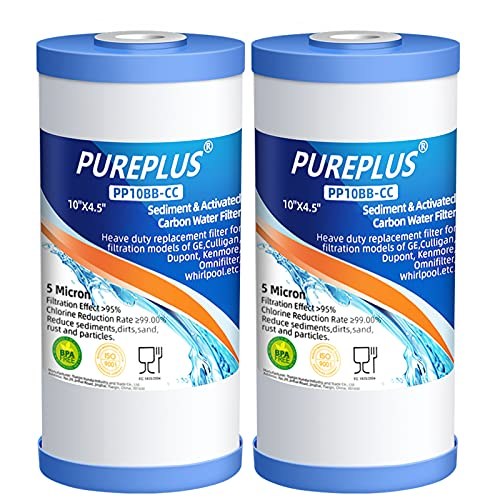 PUREPLUS 5 Micron 10' x 4.5' Whole House Sediment and Activated Carbon Water Filter Replacement Cartridge for GE FXHTC, GXWH40L, GXWH35F, GNWH38S, RFC-BBSA, WRC25HD, PP10BB-CC, RFC-BB, 2Pack