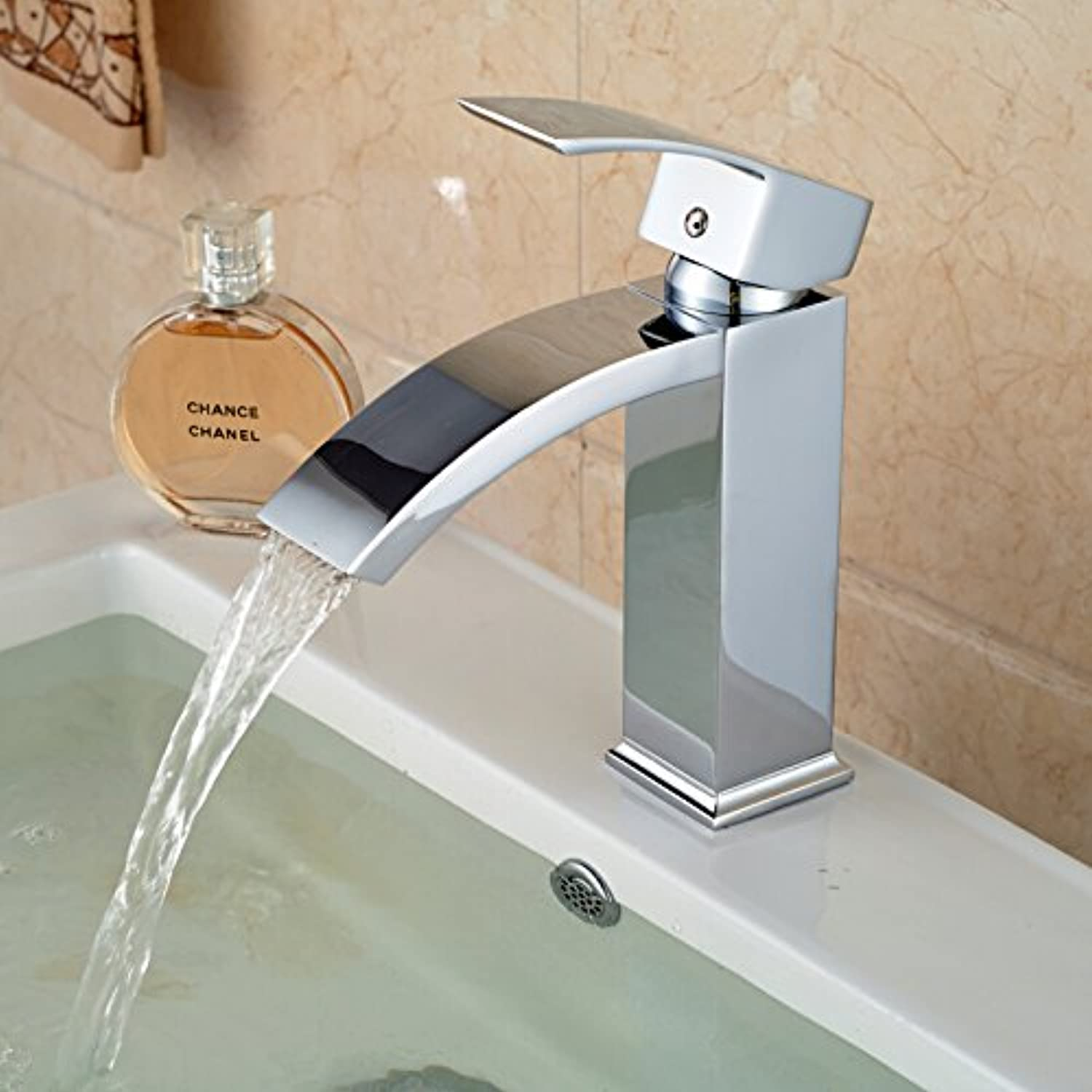 Chrome-Plated Polished Solid Brass Bathroom Single Handle Faucet
