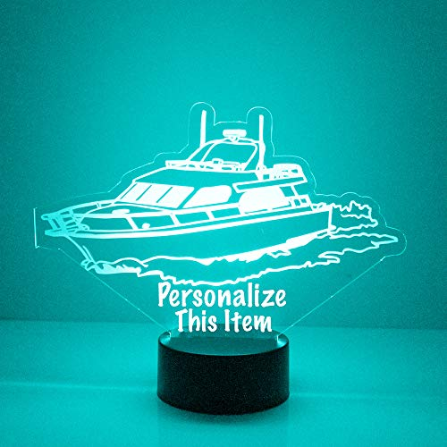 Planes, Boat, Cars, Trucks Night Light, Personalized Free, Bedside Lamp with 16 Colors and Remote Control - Great Automotive Birthday Gifts for Girls or Boys (Fishing Boat)