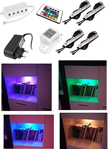 4er set Vitrinenbeleuchtung led RGB Unterbauleuchte Beleuchtung, Deckenleuchten Leuchten, Schrankleuchten, Möbelbeleuchtung, LED Schrankbeleuchtung 12V mit fernbedienung
