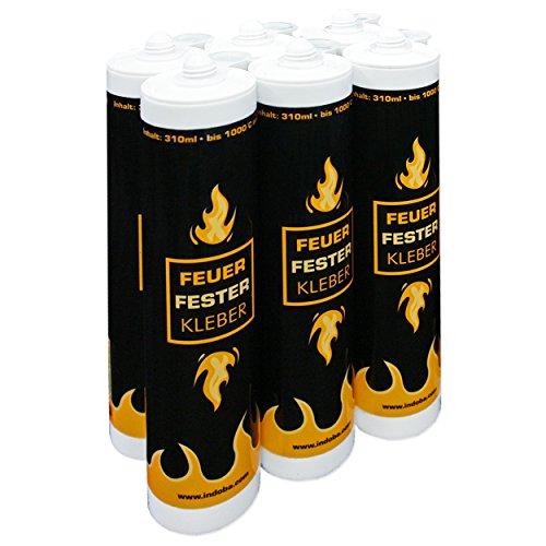 indoba IND-70700-FFKL-06 Schamottkleber Feuerfester Kleber - Hochtemperaturkleber, grau-beige, 6 Stück