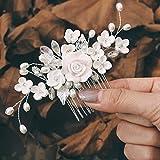 Edary Braut Hochzeit Haarkamm Silber Blume Braut Kopfschmuck Strass Haarklammern Kristall Haarschmuck für Frauen und Mädchen (1)