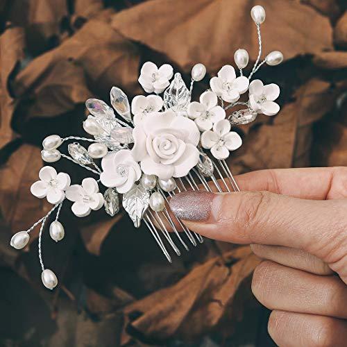 Edary Peine para el pelo de novia, con flor de plata, para novia, con diamantes de imitación, accesorios para el cabello para mujeres y niñas