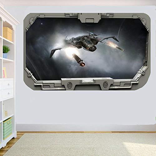 Raumschiff feuern 3D Raumschiff Fenster Wandaufkleber Raumdekoration Aufkleber Wandbild