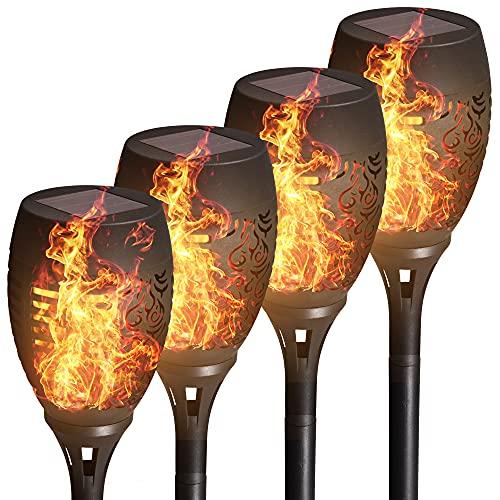 B.K.Licht 4 x Solar LED-Fackeln I IP44 I Automatisch Ein/Aus I LED-Gartenlampe I Flammenlicht I Solarleuchte