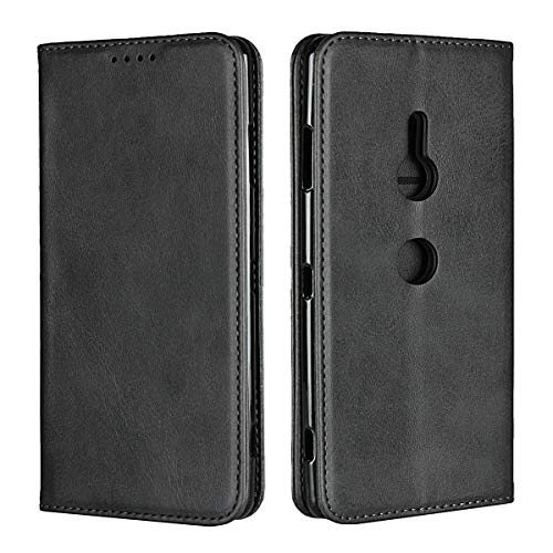 Copmob Sony Xperia XZ3 Hülle,Premium Flip Brieftasche Ledertasche Handyhülle,[3 Kartensteckplatz][Standfunktion][Magnetverschluss],Schutzhülle für Sony Xperia XZ3 - Schwarz
