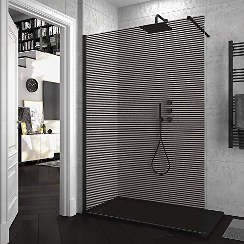 Mampara de ducha FIJA VAROBATH Negro - Vidrio 8MM Serigrafiado Vinilo LINE - Tratamiento antical INCLUIDO. 110x200cm.
