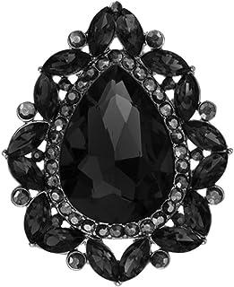 Rosemarie & Jubalee Women's Stunning Statement Teardrop Glass Crystal Stretch Cocktail Ring