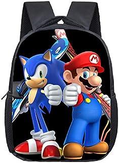 Mochila FENGHU Sonic de 12 pulgadas Mario Bros Sonic Kindergarten Infantil pequeña mochila para niños bebé dibujos animados mochila escolar bolsas regalo para niños