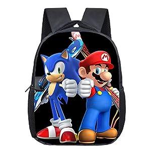 FENGHU Super Mario Mochila Mario Bros Sonic Kindergarten Infantile Pequeña Mochila Para Niños Bebé De Dibujos Animados…